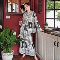 Runway Fashion Women's Silk Pajamas New Paper Pant Set Nightwear Loungewear Wide Leg Pant Twinset Lazy Comfortable Satin Female
