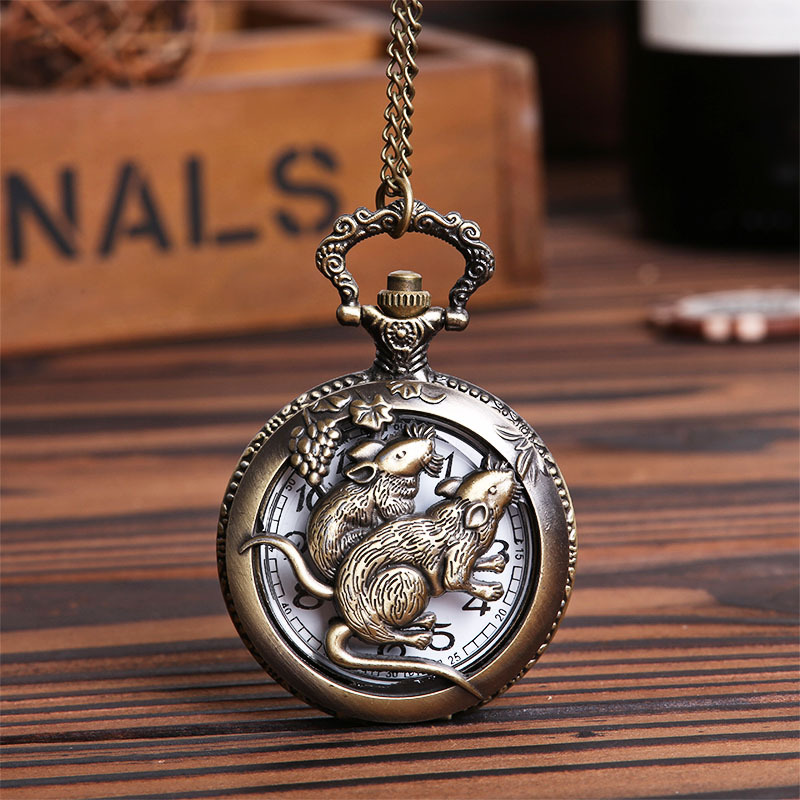 Pocket & Fob Watches Hollow Out Chinese Zodiac Animals Mouse Quartz Pocket Watches Vintage Fob Watches Gift for Men/Women