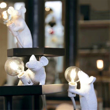 Nordic Desk Lamp Mouse Resin EU/USA Plug Rat Table Light Kids Gift Animal 1-5m Wire Luminaria