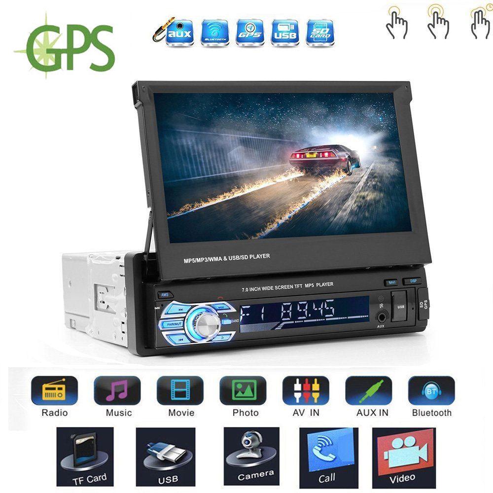 Voiture stéréo avec 7 pouces Flip Out HD écran tactile moniteur voiture lecteur MP3 FM AM Bluetooth voiture Audio vidéo avec GPS caméra de recul