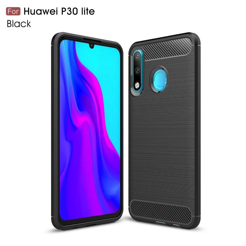 100pcs lot Carbon Fiber Silicone TPU Back Case for Huawei Y7 2019 P30 P30 PRO P30Lite