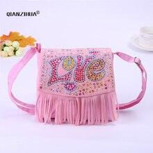 Cute Kids Children Mini Handbags Words Sequins School Bags For Girls Tassel Crossbody Shoulder Bags Baby Clutch Messenger Bag