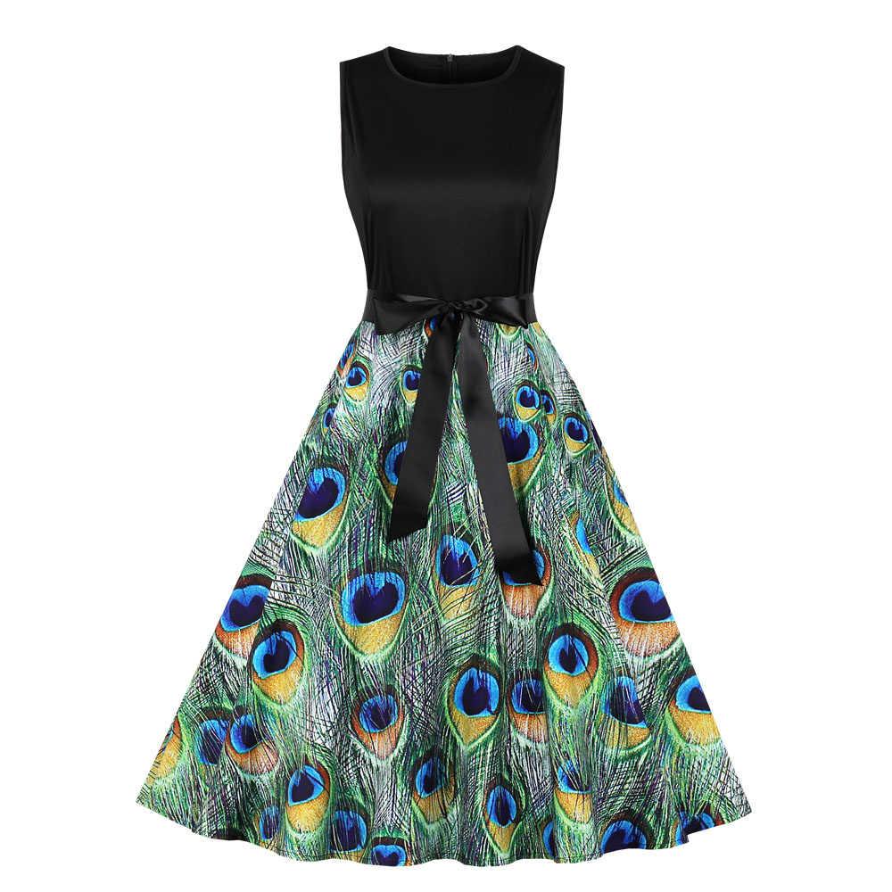 Piume di pavone Stampa Vintage Dress Audrey Hepburn 1950s Retro Rockabilly Patchwork Una Linea di Vestiti Da Partito Spille Up Tunica Vestidos