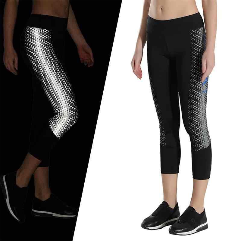 6e4e4cfefaa1c Reflective Sweatpants Running Fitness Yoga Pants Night Sports Women  Breathable Cropped Pants Leg Slimming Hips Lifting
