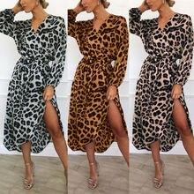 Hot Chic Women Wrap Leopard Printed Boho Long Maxi Dress Casual Bandage Bodycon Long Sleeve V Neck Loose Club Wear Dresses new chic long sleeve printed waist bandage bodycon dress for women
