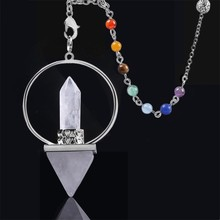 7 Chakra Natural Stone Pendulum For Dowsing Hexagonal Prism Pyramid Reiki Healing  Amulet Aura Supplies