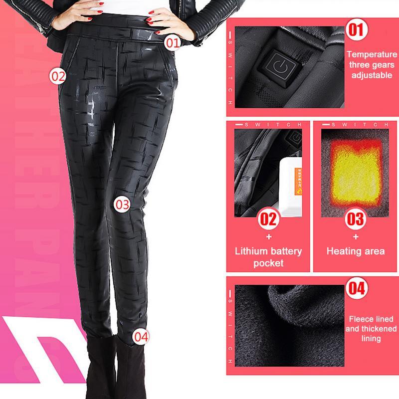 Chaud fond USB pantalon hiver polaire doublé électrique à la mode constante température chaude pantalon en cuir pantalon conception de marque