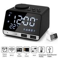 Digital Alarm Clock Bluetooth Radio Alarm Clock Speaker Temperature 2 USB Ports LED Display Table Snooze Table Clock Home Decor
