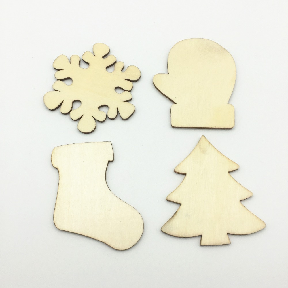 Christmas Shapes.Us 7 59 5 Off 30pcs 59mm Wood Craft Christmas Shapes Glove Snowflake Stocking Xtmas Tree Blank Christmas Ornament Making Supplies In Party Diy