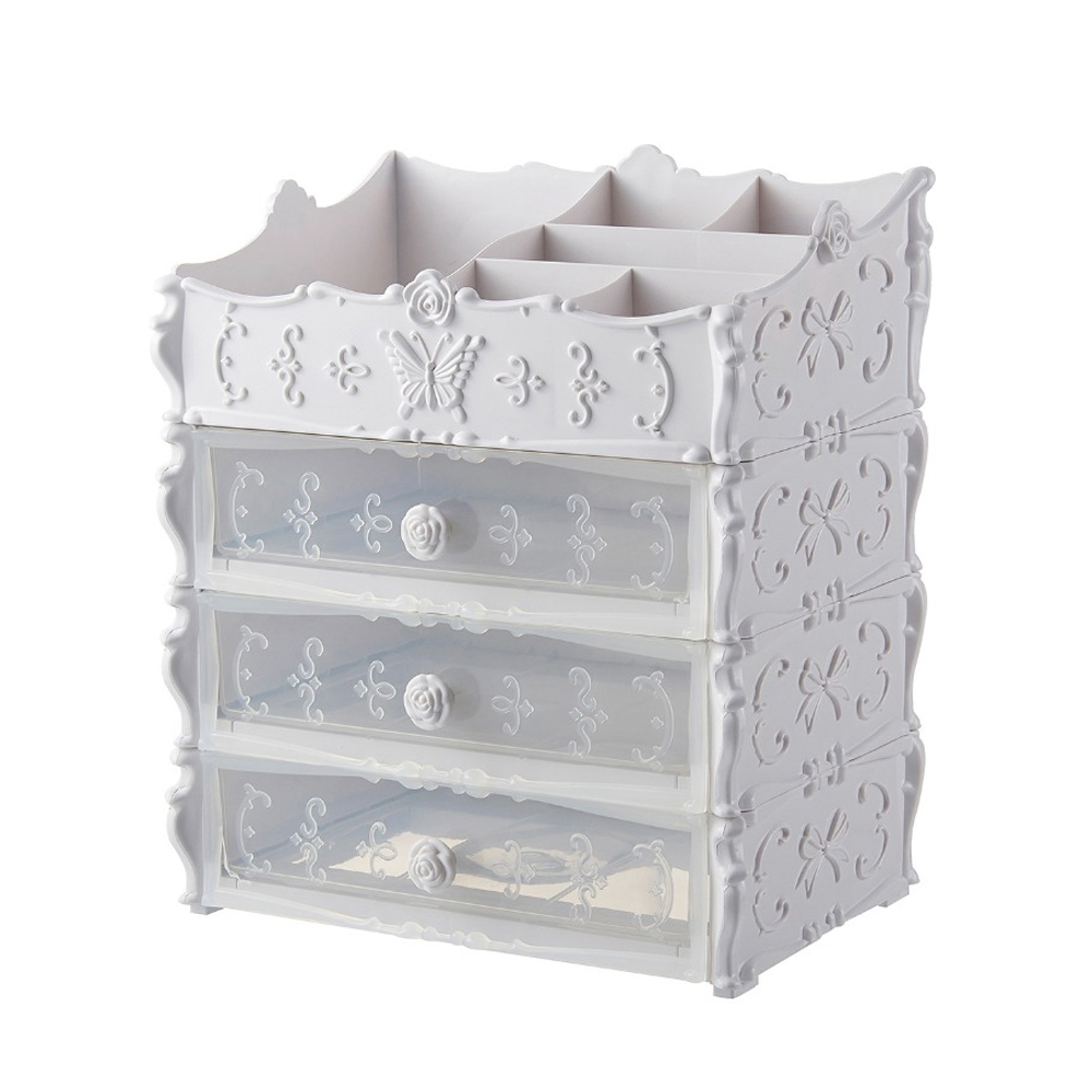Plastic Cosmetic Drawer Container Makeup Organizer Box For Storage Make Up Jewelry Nail Holder Home Desktop Sundry Storage Cas title=