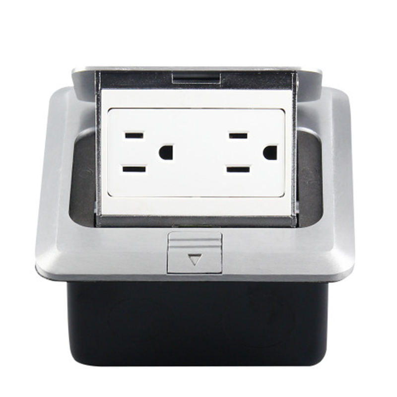 120 Type Aluminum Silver Panel Us Standard Pop Up Floor Socket Electrical Double Outlets With Cover Mounting Box(Us Plug)|Electrical Plug| |  - title=