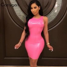 0c6c8555acd3 COSYGAL 2019 PU Leather Sexy Dress Women Strapless O Neck Club Dress Bodycon  Rubber Female Slim