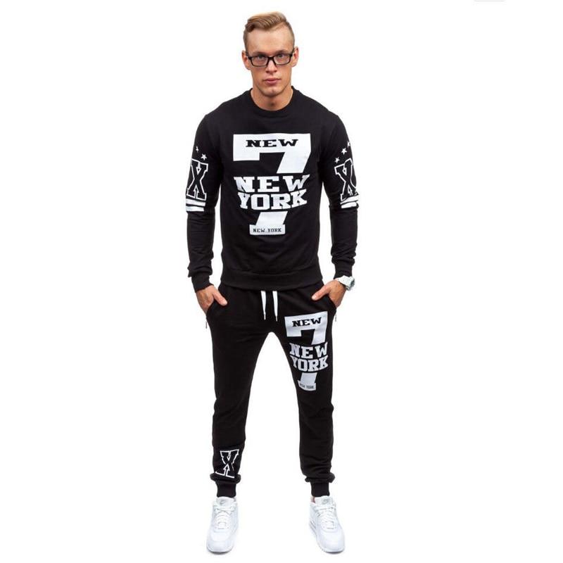 New Men Sets Arrival Autumn Spring Printing Sporting Suit Sweatshirt +Sweatpants Mens Clothing 2 Pieces Sets Slim Tracksuit