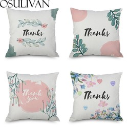 Osulivan Watercolor Thanks Printed Cushion Cover Modern Simple Pillow Case For Home Cafe Car Sofa Bed Restaurant Decoration Hot
