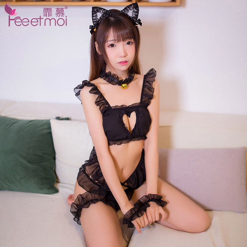 2018 black white sexy Hot Erotic Anime Sexy Costumes Cute Cat Sexy Cosplay Women Girls Party Suit Pierced Chest Cat's Underwear