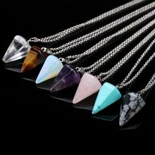 Natural crystal stone pendant necklace hexagonal cone jade jewelry N038
