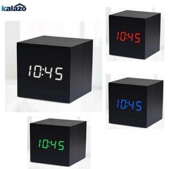 Cyfrowy termometr budzik drewniany Alarm data zegar na biurko stół USB ładowanie krótkie aktywowane głosem elektroniczny Home Decor tanie i dobre opinie WORKSTAR Luminova DIGITAL Skoki ruch Kreatywny Z tworzywa sztucznego Plac Z podświetleniem 8 cal clock26 80mm 141g Zegary biurkowe