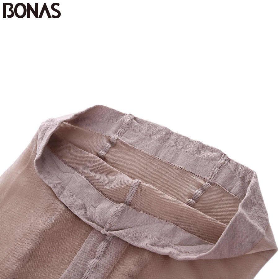 Bonas 15Dパンティ通気性タイツ耐裂性女性ストッキング超薄型ナイロンタイツセクシーな伸縮性ストッキング女性collant