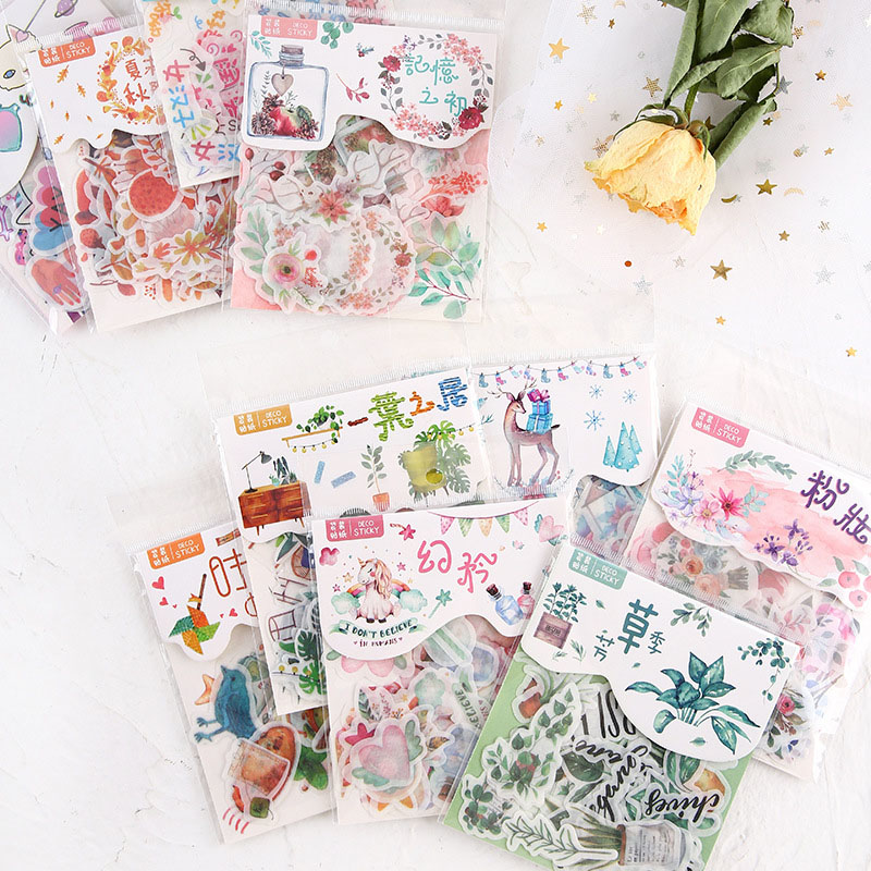 40Pcs/Pack Kawaii Stationery Stickers Cute Stickers Novelty Animals Flower Adhesive Stickers For Kids DIY Diary Scrapbooking
