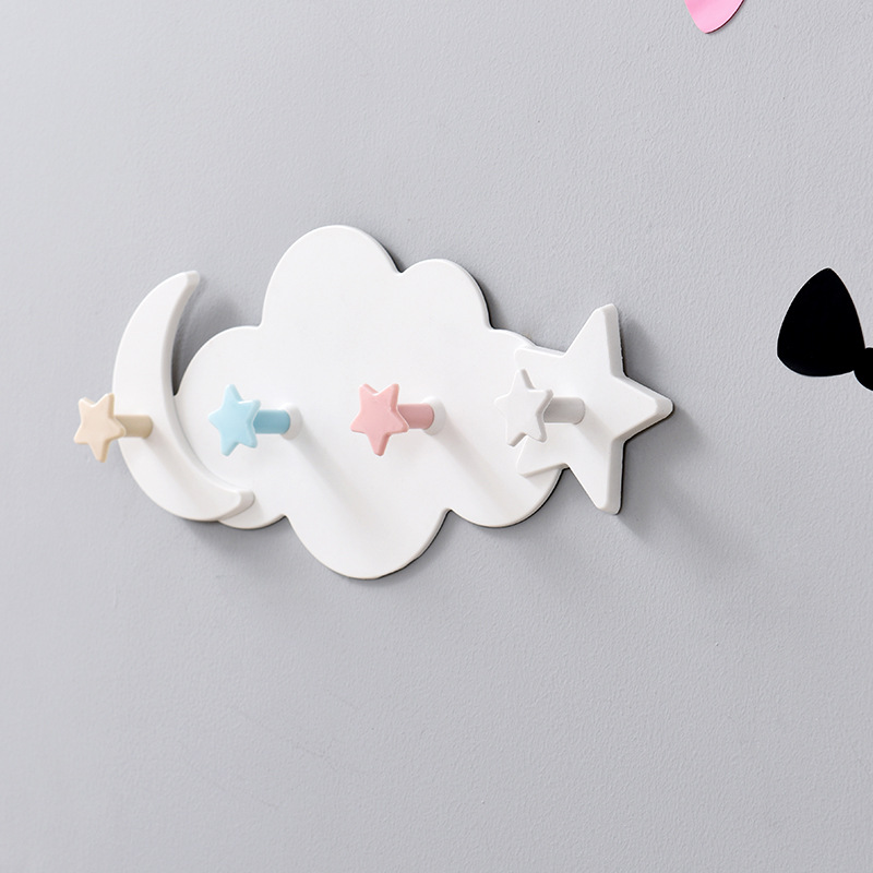 Creative Star Moon Cloud Shape Nail-free Hat Clothes Hooks Shelf Hanging Hanger Towel Hats Bag Organizer Household Home Garden