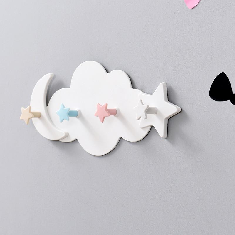 Creative Star Moon Cloud Shape Nail-free Hat Clothes Hooks Shelf Hanging Hanger Towel Hats Bag Organizer Household Home Garden