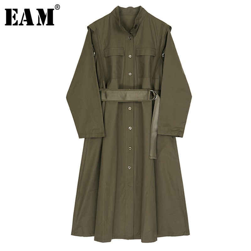 [EAM] 2019 New Spring Winter Stand Collar Long Sleeve Green Loose Big Size Long Windbreaker Women   Trench   Fashion Tide JO334
