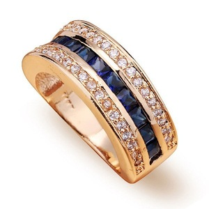 Image 4 - Full Diamond Sapphire Ring for women 18k Gold Bague or Jaune Bizuteria for Jewelry Anillos Men Gemstone anel jewelry Gold Ring