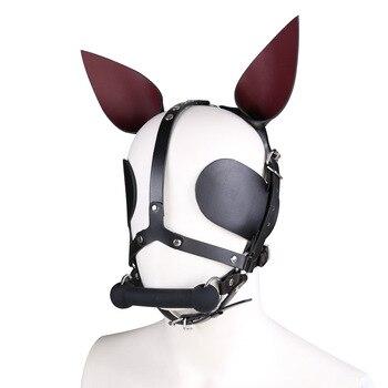 Genuine Leather SM Headgear Eye Mask Mouth Gag Plug Bondage Restraint Role Play Couple Game Exotic Adult Slave BDSM Sex Toy 3