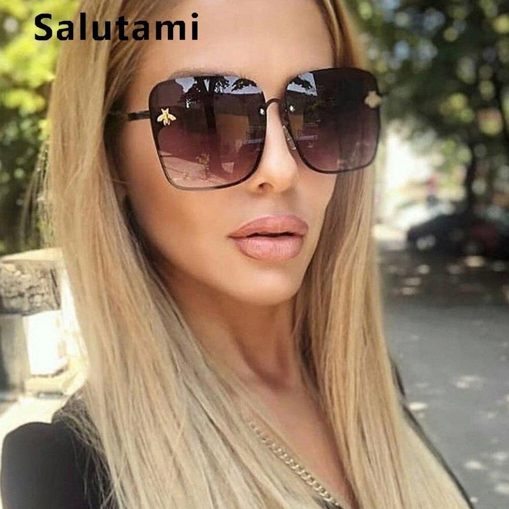 Retro Square sunglasses Oversized Frame Women Designer Fashion Black /& Brown
