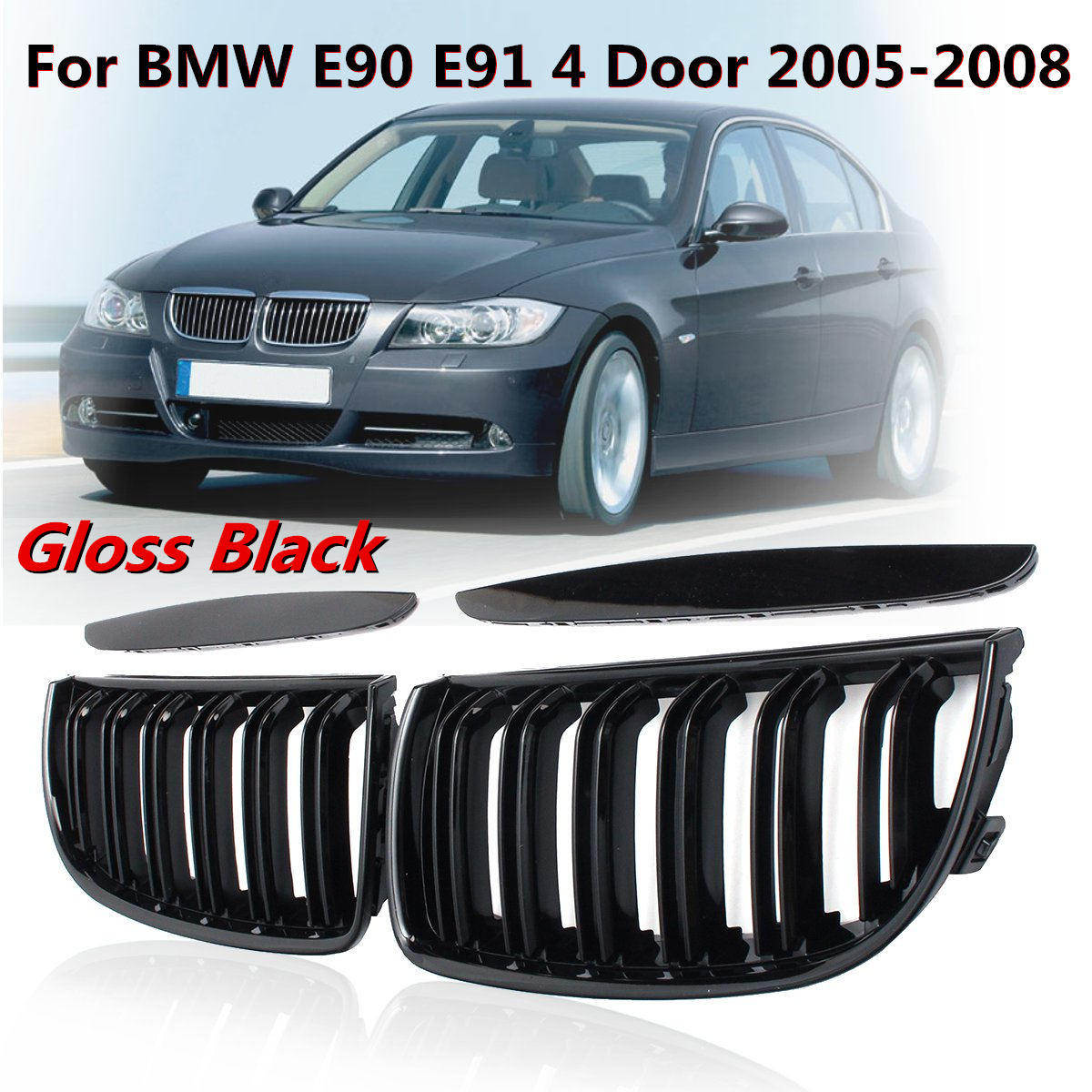 For BMW 3 Series E92 E93 Glossy Black Kidney Grille Dual Slat M4 Sport Grill CHZ