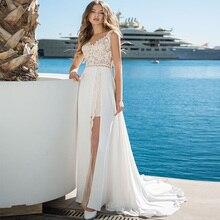 Sexy Beach Wedding Dresses 2019 Sleeveless Slit Lace Bridal Gowns with Short Skirt Inside Vestidos De Novia Wedding Gowns