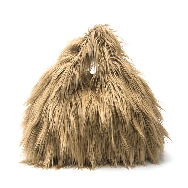 Winter Causal Tote Bag Fashion Fur Handbags For Women Made