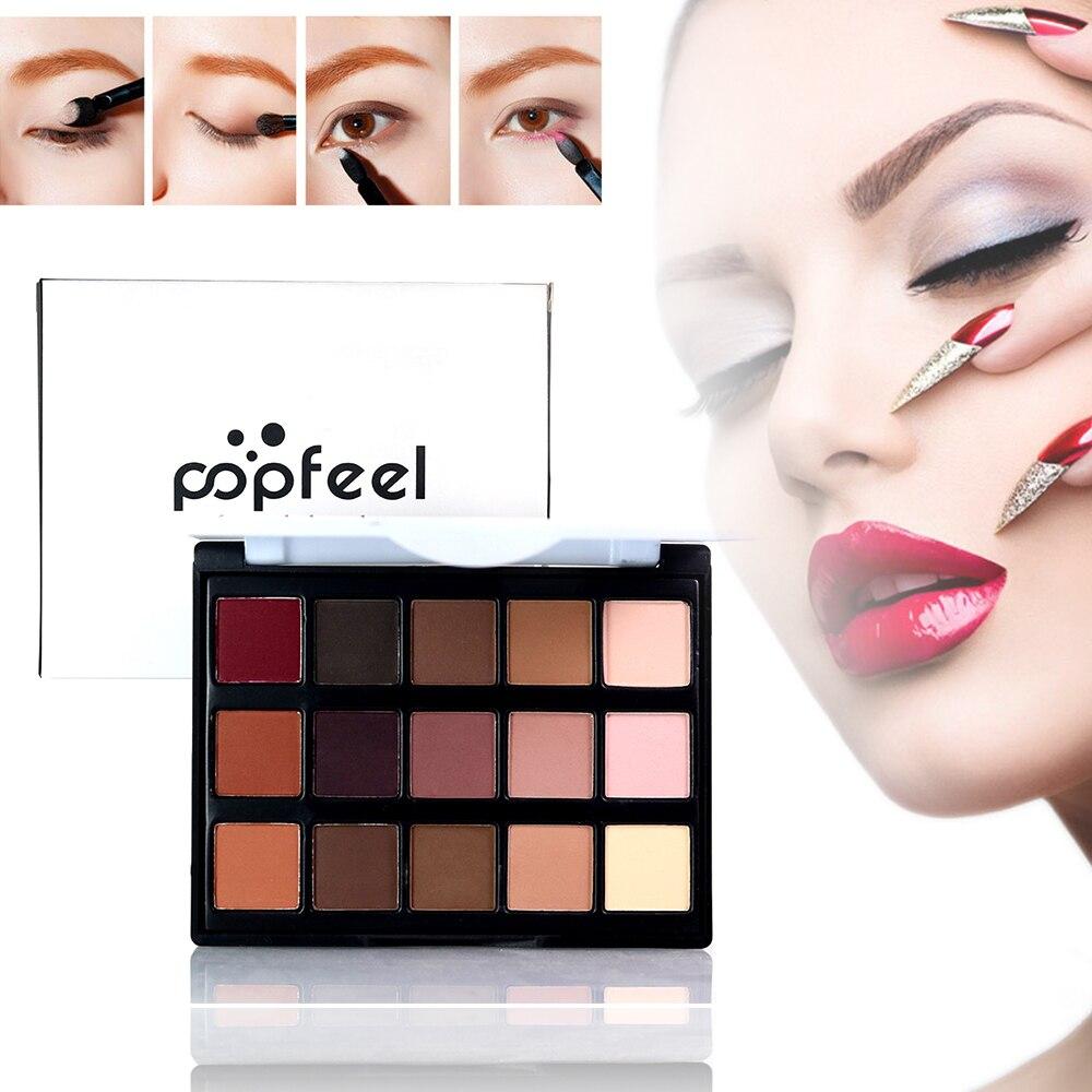 Палитра теней для век POPFEEL, 15 цветов, блестящая матовая пудра для макияжа телесного цвета, TSLM2