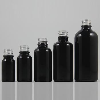 30ml bright black empty cosmetic bottle, essential oil glass dropper/spray container without caps 18 mm
