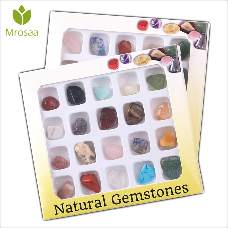 20pcs/set Ore Stone Set Ornament Natural Stones Craft Crystal Gemstone Polished Healing Natural Crystal Gemstone Nice Gift Rated