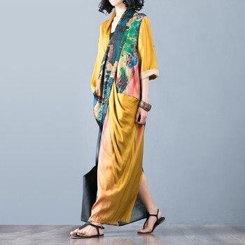 CHICEVER Summer Vintage Print Women Dress Cross V Neck Half Sleeve Patchwork Pockets Split Hem Loose Slim Female Dresses 2020 1