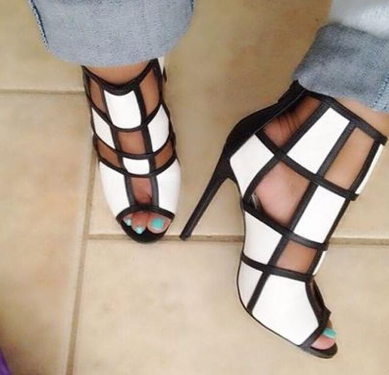 New 2019 Fashion Patchwork Peep-toe Stiletto Women Sandals Sexy Cut-out Thin Heels Lady Gladiator Sandals Party ShoesNew 2019 Fashion Patchwork Peep-toe Stiletto Women Sandals Sexy Cut-out Thin Heels Lady Gladiator Sandals Party Shoes