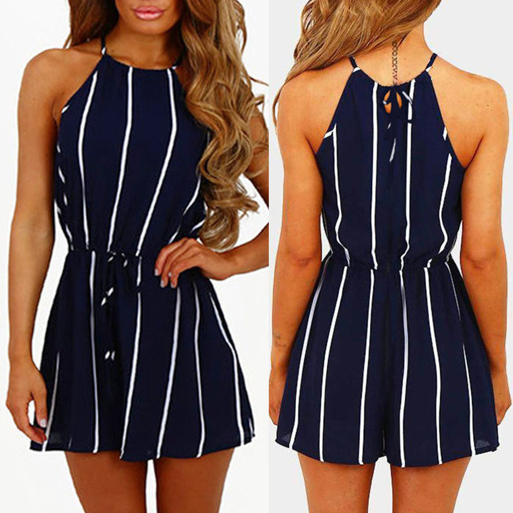 Romper   Playsuit Streep Printing Off Shoulder Mouwloze Rompertjes Bandage Jumpsuit Playsuit Voor Zomer Beach Party Kleding
