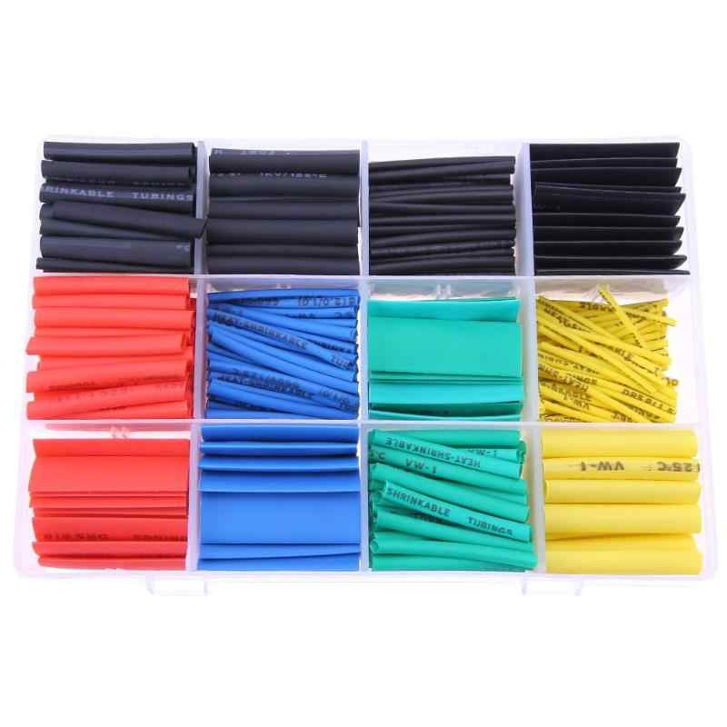 530/580pcs Cable Sleeve Heat Shrink Tubing Ratio 2:1 Polyolefin Shrinking Assorted Wrap Cable Sleeve Kit Tube Assortment