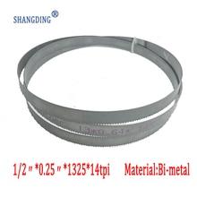 "Top Quality Metalwo52.2"" x 1/2"" x 0.25"" x 14tpi or 1325*13*0.65*14tpi  M42 bimetal bandsaw blade for metal cutting free shipping"