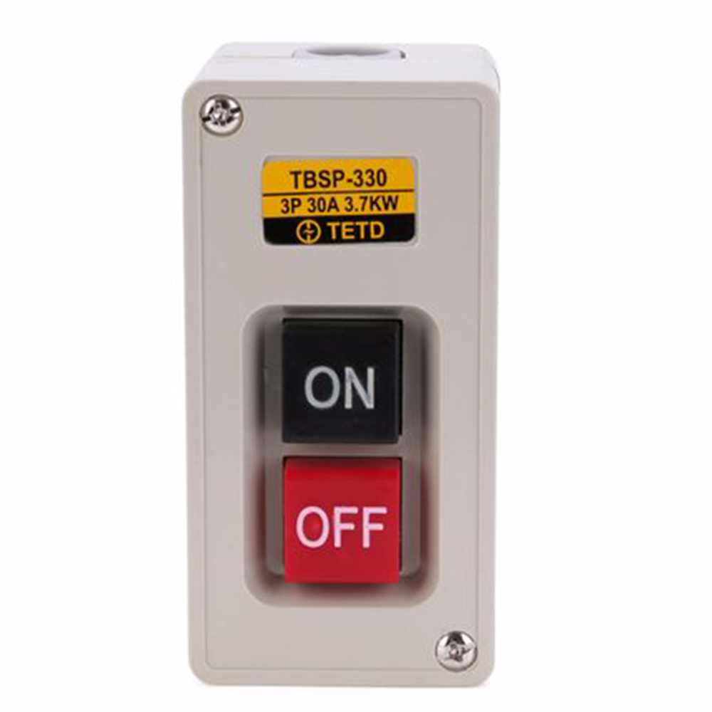 TBSP-330 ON/OFF Lock Tend Push Button Switch Station 3.7Kw 30A For Textile Machinery