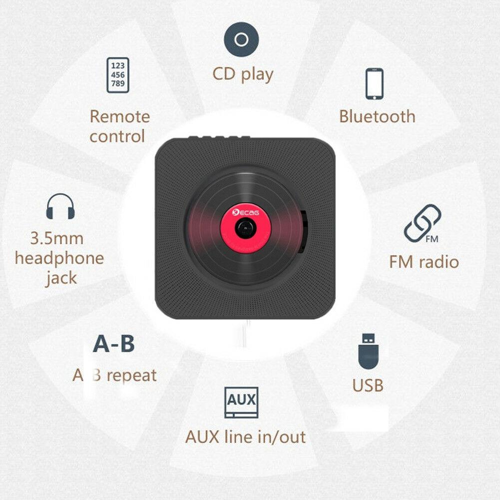 Lecteur CD mural montable Bluetooth Portable boîtier Audio maison avec télécommande Radio FM haut-parleurs HiFi intégrés MP3
