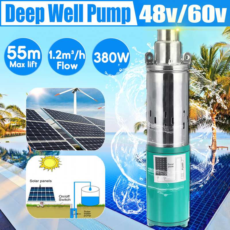 Solar Water Pump Max Lift 55m 48/60V 380W 1200L/h Deep Well Pump DC Screw Submersible Pump Irrigation Garden Home AgriculturalSolar Water Pump Max Lift 55m 48/60V 380W 1200L/h Deep Well Pump DC Screw Submersible Pump Irrigation Garden Home Agricultural