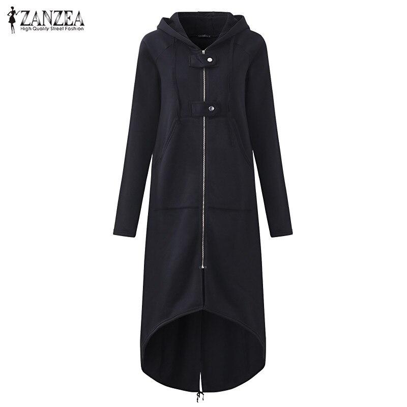 SCHMICKER mujer Sudadera con capucha cremallera corte largo de manga suelta sólido falda de lana de las mujeres con capucha abrigos