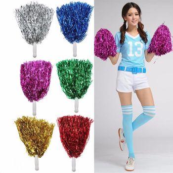 1Pc Metallic Cheerleader Dance Party Dress Pom Poms Cheerleading Souvenir Pom Sports Entertainment Team Sport Poms 6 Colors NEW