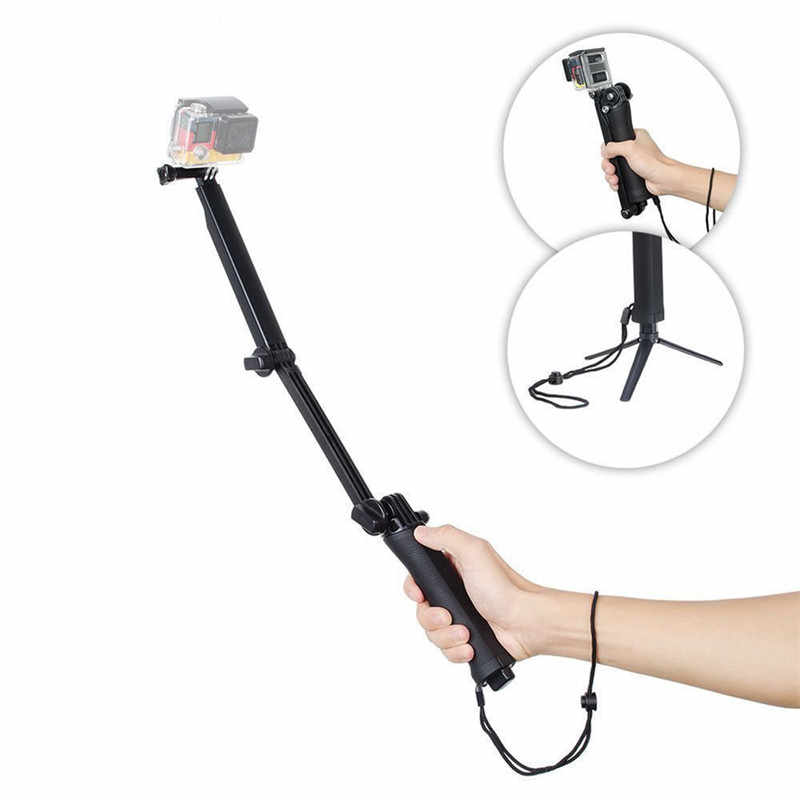 Monopod Adjustable Selfie Stick Hand Grip Pole Arm Tripod Mount for GoPro Hero 5 session/4/3+/3/2 Phone Clip for iPhone/Android