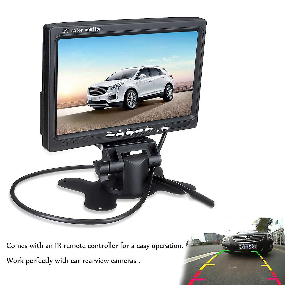 7 Inch 12V TFT LCD Screen Car Monitor Rearview Screen For CCTV Reversing Rear View Backup Camera Remote Control