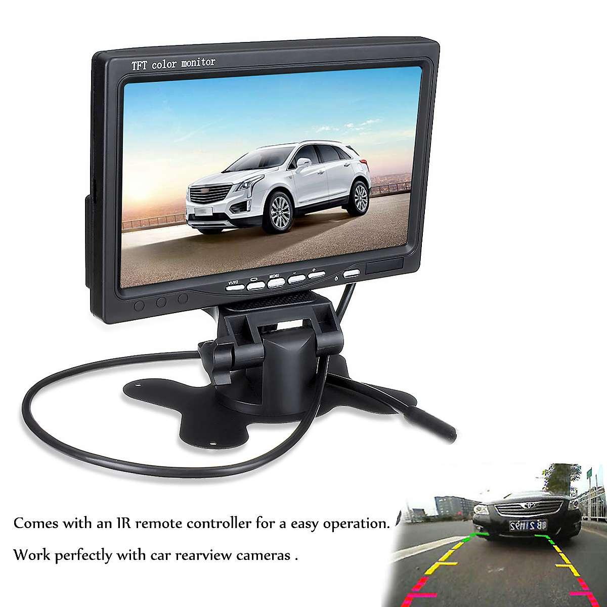 7 pulgadas 12 V TFT LCD de pantalla de Monitor de coche retrovisor pantalla para CCTV invertir de visión trasera cámara de copia de seguridad + control remoto control