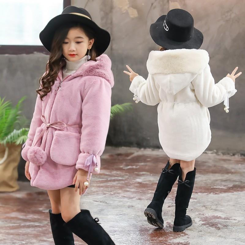 Faux Fur Autumn Jackets For Girls Kids Fashion Parka Coats Children Hooded Winter Coats For Girls Pink Black White Clothing winter girls jackets girls parka children outdoor coats kids outwear solid color teenage girls coats kids clothing 2016