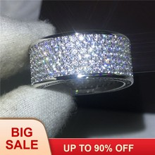 Luxury Full Round 320pcs AAAAA Cz Stone ring White Gold Filled Engagement wedding band rings for women Bridal Jewelry(China)